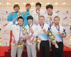 Doubles medalists, Korea 2 (Bronze), Finland 1 (Bronze), Japan 2 (Silver), Korea 3 (Gold)