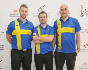 Joachim Karlsson, Robert Andersson and Martin Paulsson of Sweden finishing second Doubles squad 2 to take up third overall