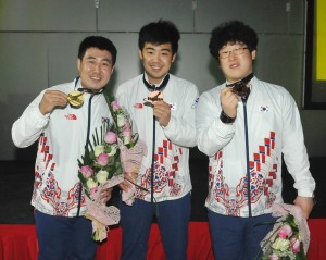 Korea's Kang Hee Won, Park Jong Woo and Choi Bok Eum dominating the Masters by winning the gold and two bronze medals