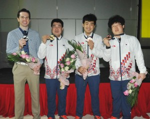 Masters medalists (L to R) Mike Fagan (USA-Silver), Kang Hee Won (KOR-Gold), Park Jong Woo and Choi Bok Eum (KOR-Bronze)