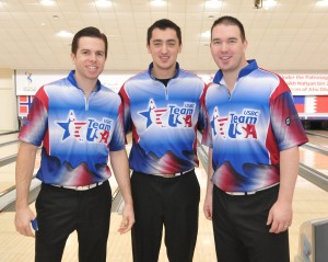 Mike Fagan, Marshall Kent and Sean Rash of USA clinching third sport in Doubles squad 2 for fourth overall